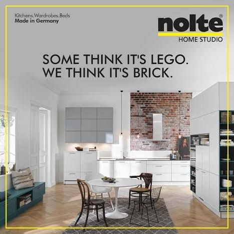 In a Carisma Lack kitchen, one simply can't miss the astounding brick recess panelling. #cabinets #ModularKitchen #Kitchens #Nolte #HomeStudioIndia #Home #NolteHomeStudio #designs #KitchensIndia #India #Architects #Decor #KitchenDesigns  Visit: www.noltehomestudio.in/kitchens