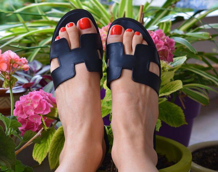 Image of Greek Leather Sandals, Black H Slides, Greek Sandals,  Black Greek Sandals, Black Leather Slides