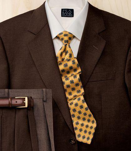 Men's Suit Jos. A. Bank Trio 2-Button Wool Suit- Brown JoS. A. Bank