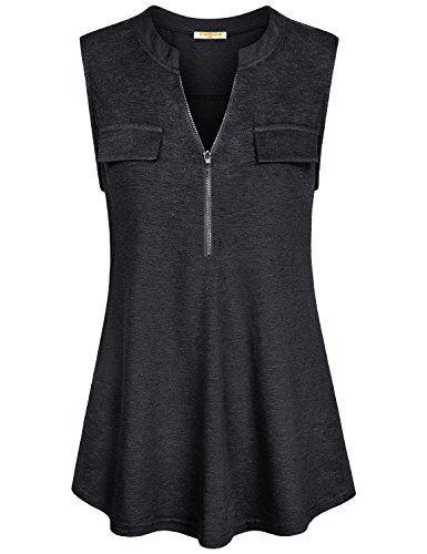 72eae33fb8b64 Baikea-Womens-Summer-Half-Zip-Sleeveless-Tunic-Tank-Tops-with-Chest-Flaps