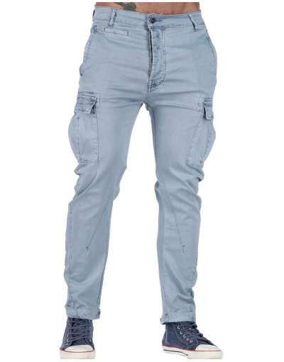 ΑΝΔΡΙΚΑ ΡΟΥΧΑ :: Παντελόνια :: Παντελόνι Cargo Washed Pockets Light Blue - OEM