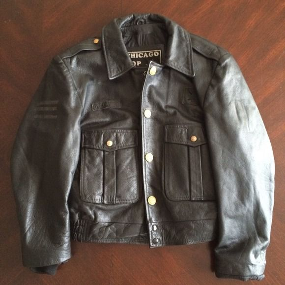 Chicago Cop Shop Outerwear - Leather Chicago Police Jacket Black Genuine Auth
