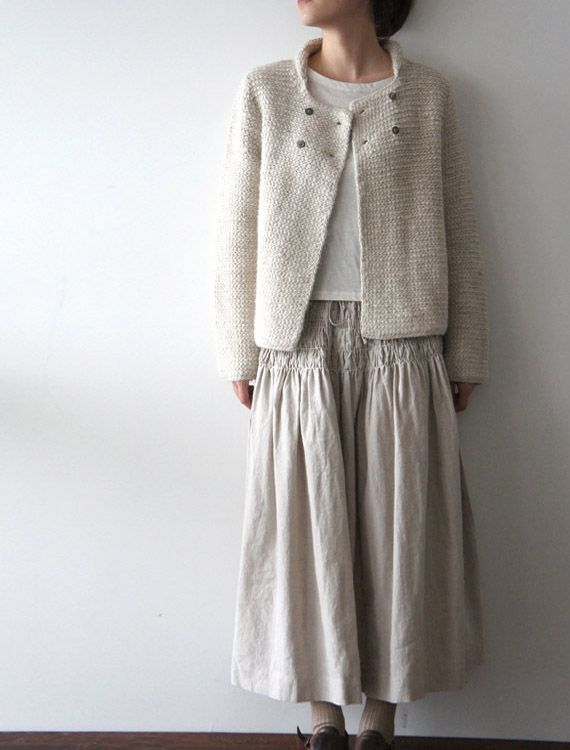[Envelope Online Shop]Smocked skirt + knit boxy cardi