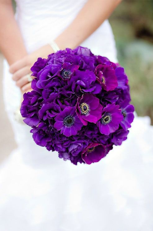 Featured Photographer: The Youngrens; Bold and beautiful purple anemone wedding bouquet