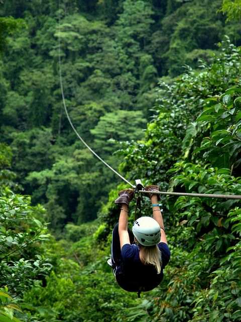 Zip Lining in the Rainforest Canopy (Costa Rica). 'Few things are more purely joyful than clipping into a high-speed cable, laced above and through the seething jungle canopy. Invented in Santa Elena, zip-lining outfits quickly multiplied, cropping up in all corners of Costa Rica. The best place to sample the lines is still Monteverde, where the forest is alive