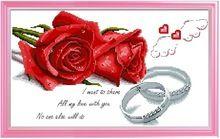 Вышивка крестом резко последнее гостиная спальня точным печать любовь последние праздничный красные розы обручальные кольца Рукоделие(China (Mainland))