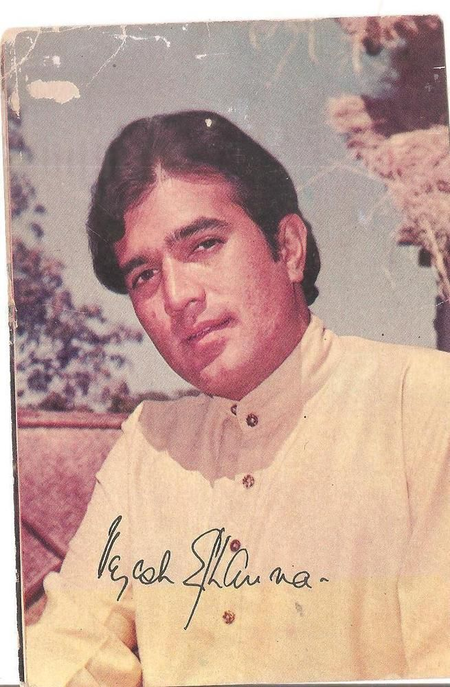 "SIGNED FILMY BOLLYWOOD Memorabilia ppc Legendry RAJESH KHANNA""first superstar"""