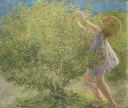 La Pianticella, 1901, Gaetano Previati. Italian Pointillist, Symbolist Painter (1852 - 1920)
