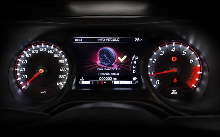 Download wallpapers 4k, Fiat Cronos, dashboard, 2018 cars, new Cronos, italian cars, Fiat