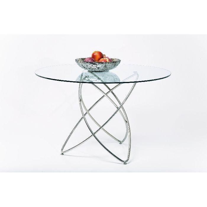 Τραπέζι Molekular Dia Εντυπωσιακό και κομψό τραπέζι φαγητού, με διάφανο γυαλί πάχους 10mm.