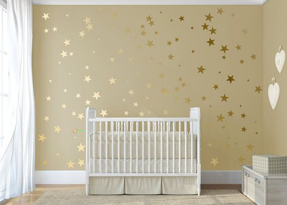 Gold confetti stars  Stick on Wall Art Gold vinyl wall decal sticker stars Gold star decal set for baby nursery wall By  DecalIsland-SD 092