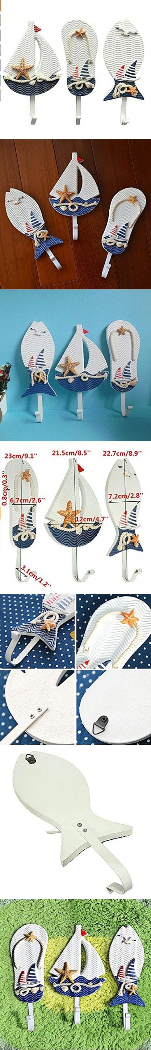 Wendin Large Art Hook Wooden Nautical Coat Hat Clothes Towel Wall Hooks Hangers Hanging Decoration Wall Mounted Key Hook Metal Home Decor 3pcs Mediterranean Style Slippers Sailing Fish Utility Hook