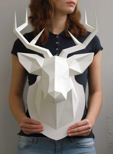 Трофейные головы животных из бумаги для украшения интерьера. Автор: Наталья Бублик.... фото #2