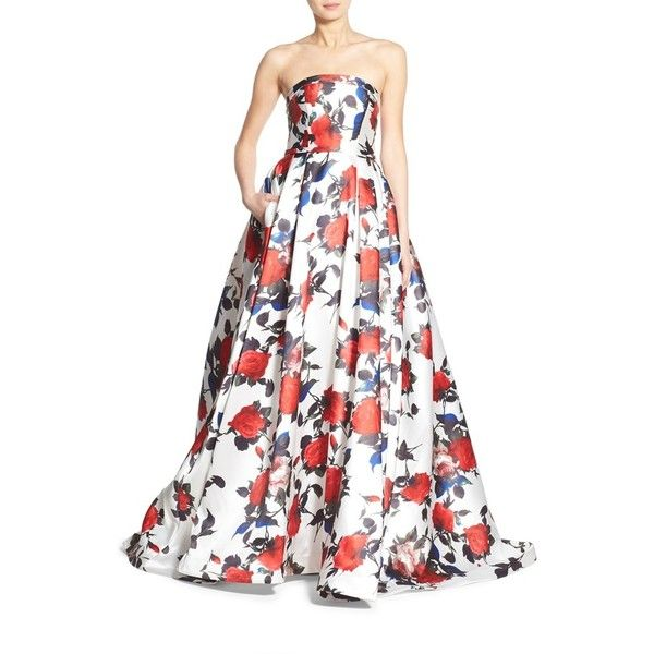 Women's Mac Duggal Floral Print Strapless Gown ($458) ❤ liked on Polyvore featuring dresses, gowns, white multi, white strapless gown, strapless evening dresses, white evening dresses, white gown and strapless gown