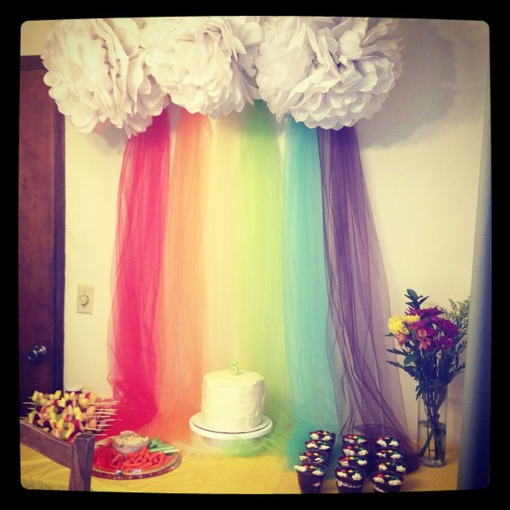 Cloud and rainbow display - great for classroom. Have a golden reading chair underneath, especially if the rainbow is curved along a wall...