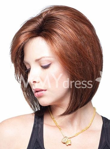 Charming Short Straight Bob Side Bang Stylish Synthetic Reddish Ombre Capless Wig For Women
