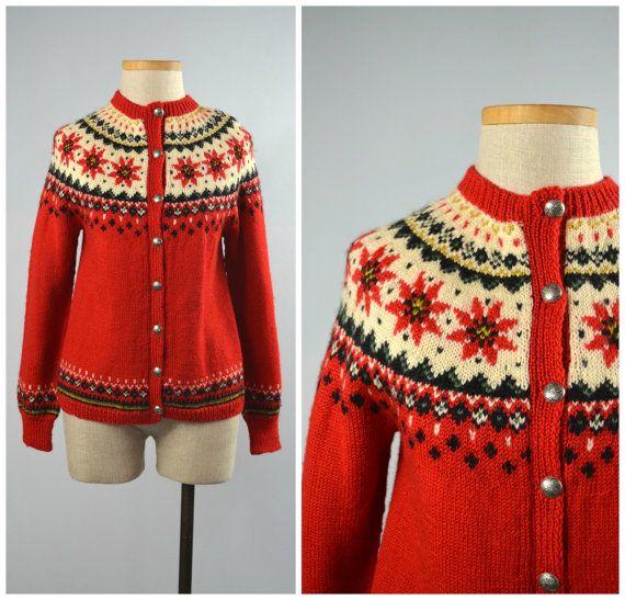 Julestjerne | Vintage 60s Norwegian Fair Isle Cardigan | 1960s Hand Knit Wool Sweater by RevengeOfTheDress