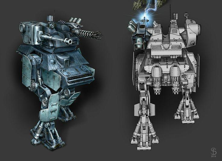 https://www.artstation.com/artwork/lEnXz Destroyer battle robot and its weapon modernizations. Heavy robot constructed from an old German tank. For shooter game in the post apocalyptic world. #ConceptArt #GameArt #Weapon #Battle #Combat #Robot #Destroyer #ShooterGame #SeryogaBiryukovArt #Tank #GermanTank #Fight #PostApocalyptic #Artstation #Mecha #3D #Heavy