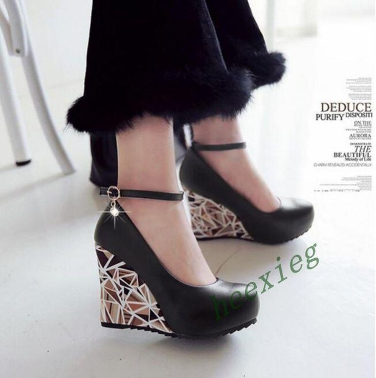 New Women Round Toe Ankle Strap Buckles High Platform Wedges Dress Shoes A666 | Clothing, Shoes & Accessories, Women's Shoes, Heels | eBay!