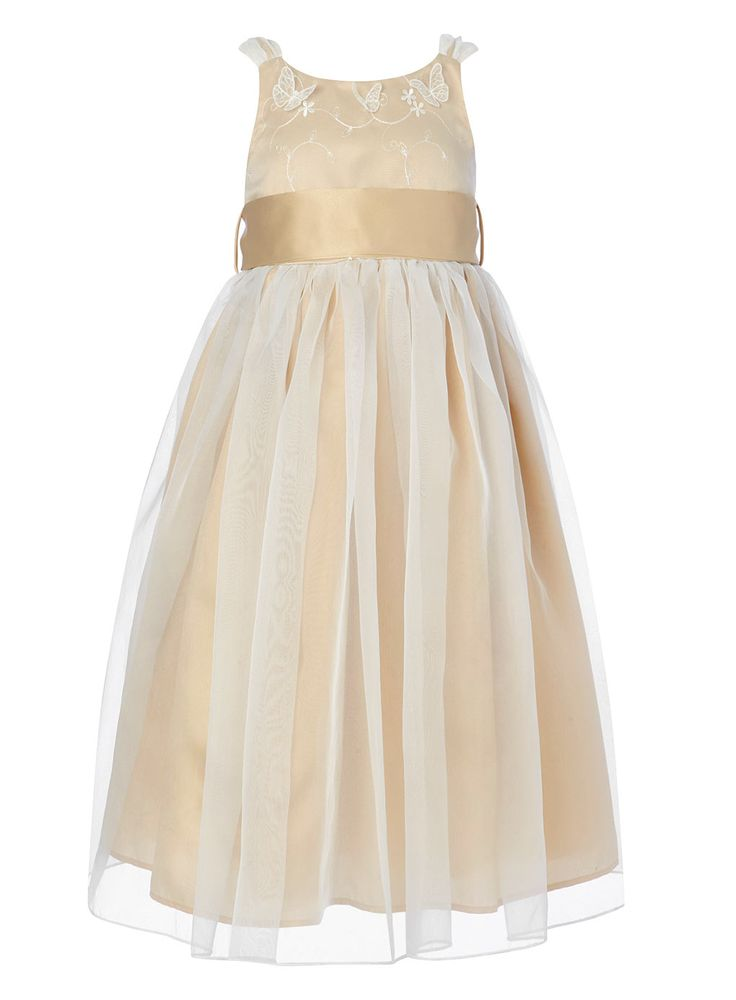 Isla champagne bridesmaid dress child dresses young for Flowers for champagne wedding dress