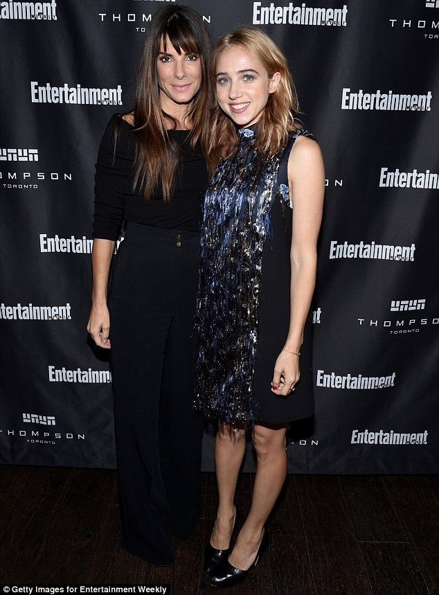 She really is Miss Congeniality: A-lister Sandra Bullock was only to happy to pose with excited Zoe Kazan