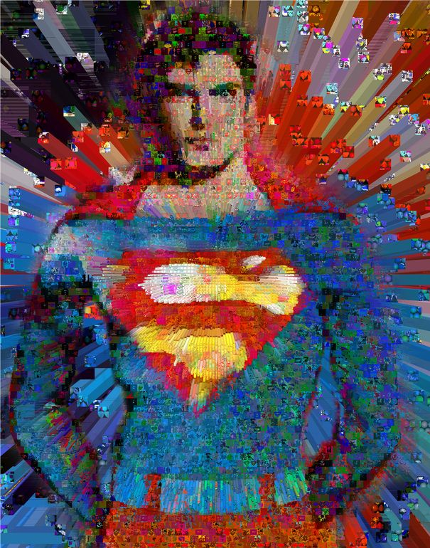 Man of Steel made out of painted images of superman and the background filled with Kryptonite.Dimension 60 X 40 Inches