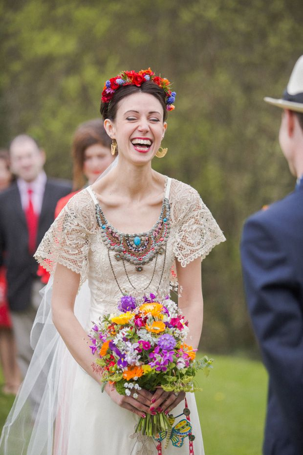 Alice Halliday bespoke lace bridal dress with Bonzie beaded collar, Ruby Harte Floral Design bouquet and crown http://onefabday.com/liss-ard-estate-wedding-by-magda-lukas/