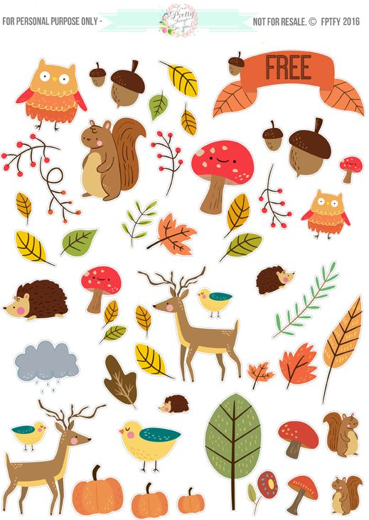 Free Printable Critter Autumn Planner Stickers and Clip Art! - Free Pretty Things For You