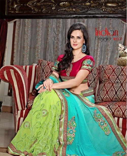 Fabulous Chiffon and Net Green Saree