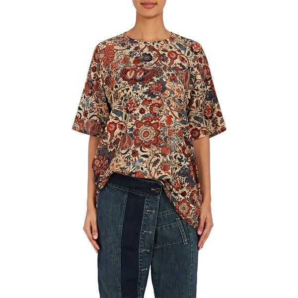 Gary Graham Women's Floral Cotton-Blend Oversized T-Shirt (1,705 SAR) ❤ liked on Polyvore featuring tops, t-shirts, no color, oversized jersey tee, short sleeve t shirt, jersey t shirt, floral print t shirt and multi color t shirts
