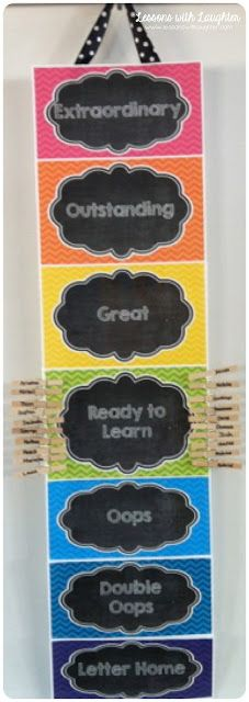 Lessons with Laughter: Chalkboard & Chevron Classroom Decor {Clip Chart freebie!}