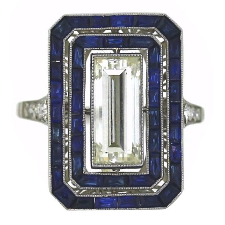 Diamond and Sapphire Ring | See more rare vintage Cocktail Rings at www.1stdibs.com/…