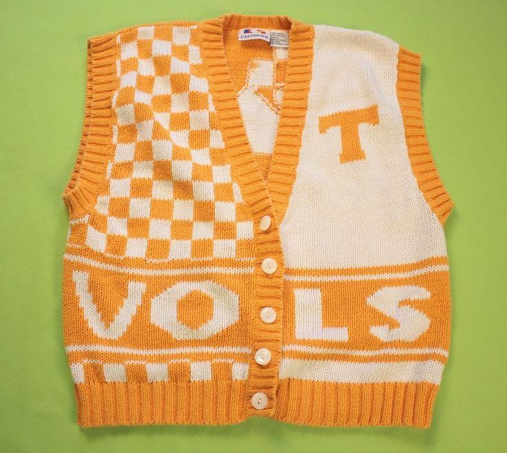 University Tennessee Cardigan Sweater Vest Sz L Football UT Orange Checkerboard #Castaways #SweaterVest