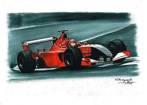 2001, Ferrari F2001, Italian GP,  Michael Schumacher,  Rubens Barrichello,  Ferrari F1 collection ART by Artem Oleynik. This collection demonstrating Ferrari F1 racing cars since 1950 to 2016 and includes 96 pictures in oil on canvas. The size of each original picture is 25 x 35 cm.