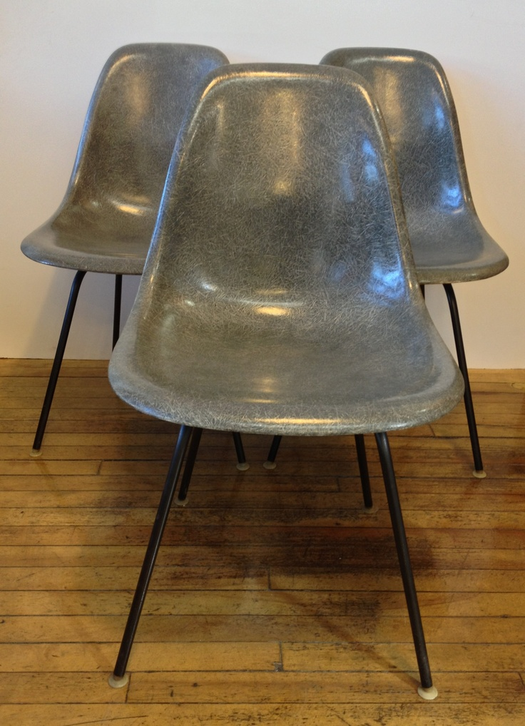 3 vintage modern Eames chairs with H base - all made in the 1950's