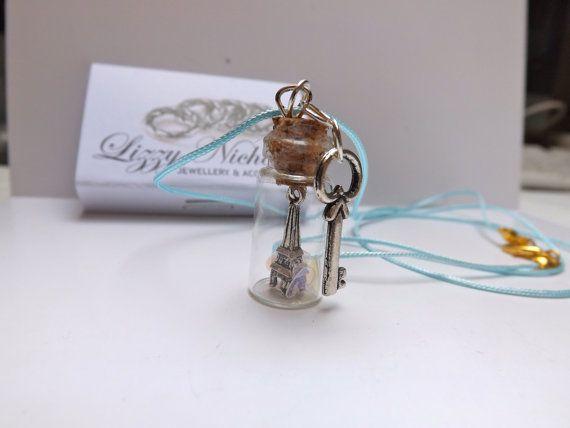 eiffel towe paris key charm bottle necklace by LizzyNicholls, £6.00