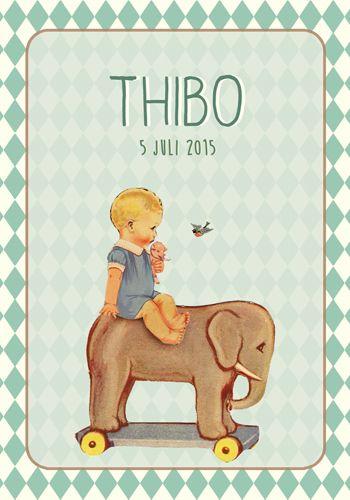Geboortekaartje Thibo - Pimpelpluis - https://www.facebook.com/pages/Pimpelpluis/188675421305550?ref=hl (# retro - jongen - speelgoed olifant - vintage - paper doll - lief - schattig - origineel)