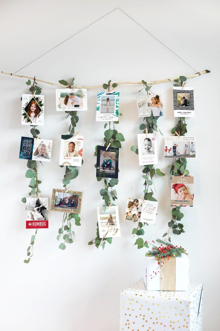 Fill a Eucalyptus Garland with Christmas cards