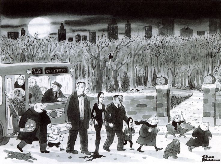 Probably no one could do Halloween like Charles Addams  (nice profile here )!                  In searching The New Yorker 's online archiv...