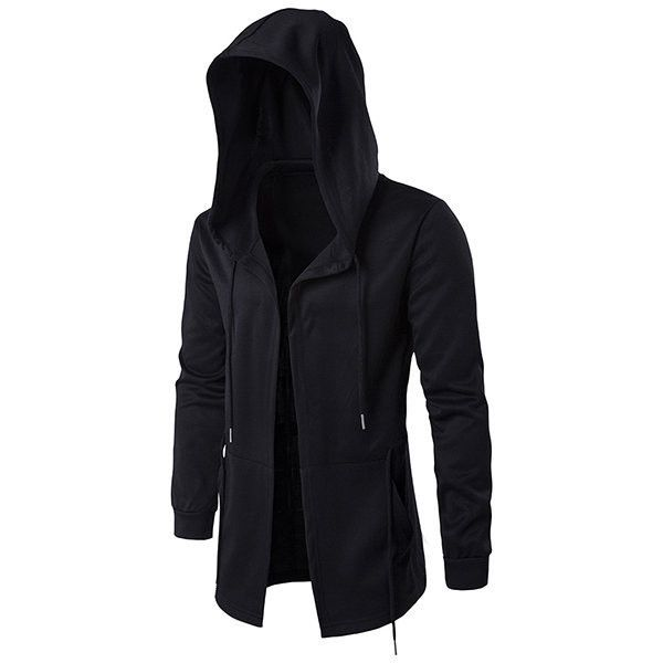 Plus Size Black Fashion Casual Mid Long Cloakman Cloak Hooded Jacket ($27) ❤ liked on Polyvore featuring men's fashion, men's clothing, men's outerwear, men's jackets, mens cotton jacket, mens hooded jackets, mens zipper jacket, mens fur lined hooded jacket and mens short sleeve jacket