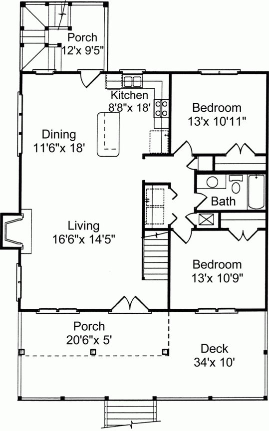 charming www.home plan #4: The first floor layout for coastal home plan # ALP-02R2