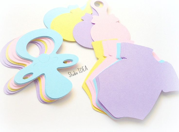 """Mixed Pastel Colors 4"""" Baby Pacifier, Onesie & Rattle Cut outs, Embellishments - Set of  60pcs, 120pcs by StudioIdea on Etsy"""