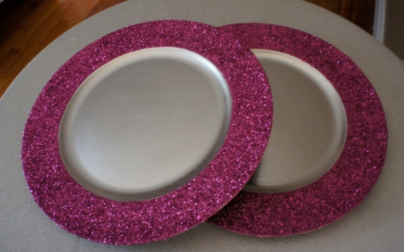4 Fuchsia Pink Glitter Chargers Sparkle Pink by CrystallizedDesign, $28.00