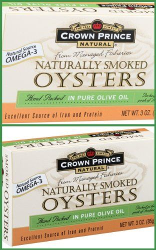 3-ounce cans with pull-top lids Excellent source of Omega-3, protein and iron Gluten free Crown Prince Smoked Oysters in Pure Olive Oil -- 3 Oz Each / Pack of 2