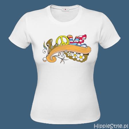 koszulka T-shirt biała LOVE kolory