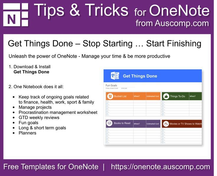 Tips And Tricks For Onenote Users Get Things Done Manage Your Time Be More Productive Please S Onenote Template Productivity Marketing Essentials