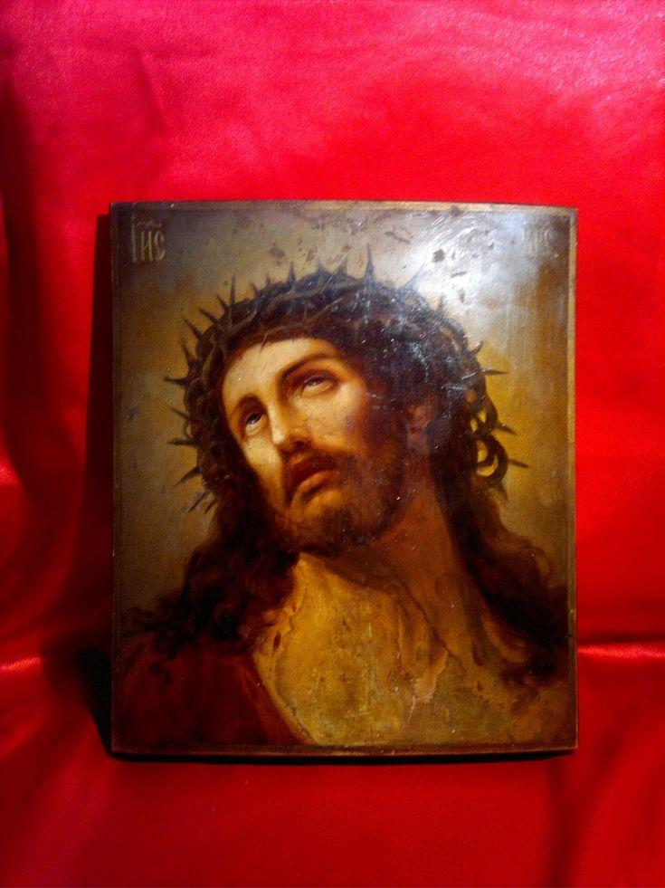 """Антиквариат. Старинная икона """"Иисус Христос"""". Дерево, масло, 19 век."""