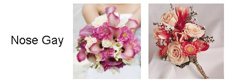 A nosegay is a small cluster of flowers in a round formation.  All flowers are cut to a uniformed length this style of bouquet became popular in the Victorian times and known to be a popular choice today.  Nosegay's can vary in size however they are usually made with one dominate flower and  colour, these are often hand tied with ribbon to add a delicate touch.