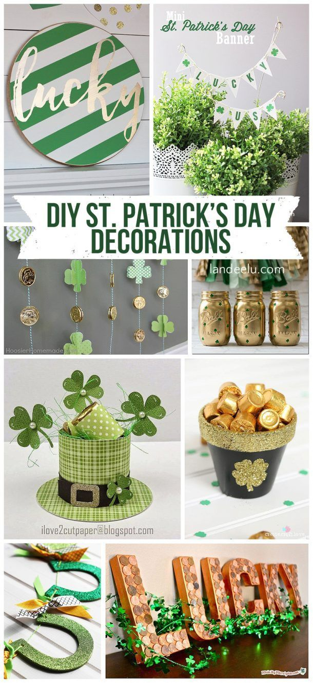 """Tons of awesome DIY St. Patrick's Day decorations! Printables, painted signs, centerpieces, garlands... add a little """"luck o' the Irish"""" to your home! #stpatricksday #stpatricksdaydecorations #DIYStPatricksDayDecorations #DIYstpatricksday #lucky #green #stpatricksdayparty"""