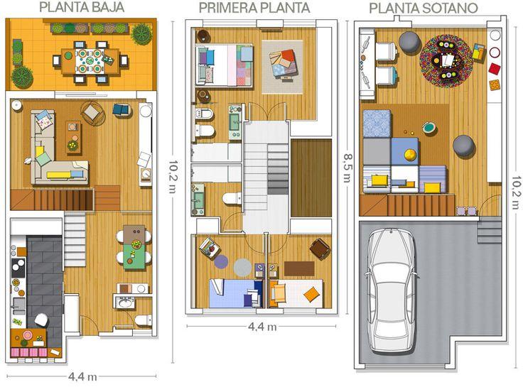 planos de casas adosadas de una planta